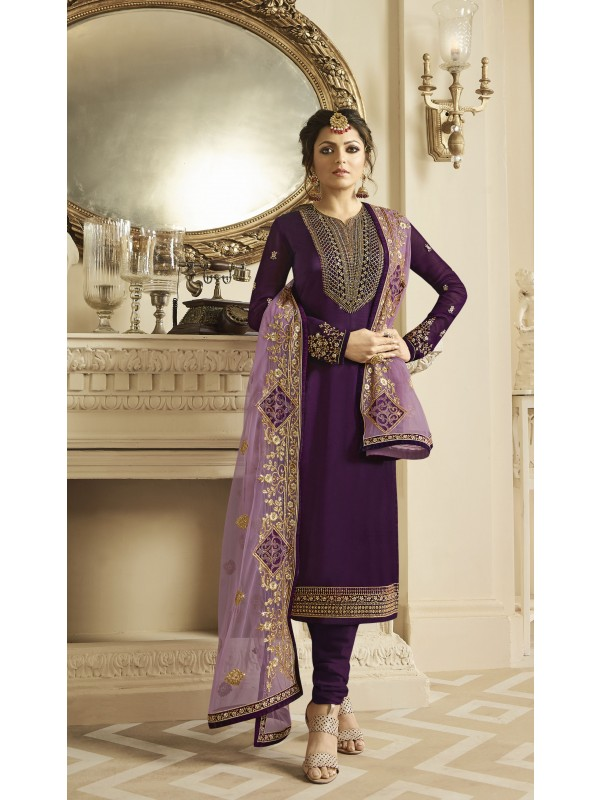 Satin Georgette Party Wear Salwar Kameez in Violet with Embroidered work