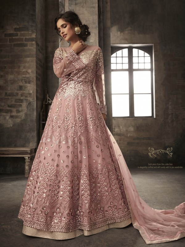Soft Premium Net Party Wear Lehenga In Light Pink With Embroidery & Sequence Work