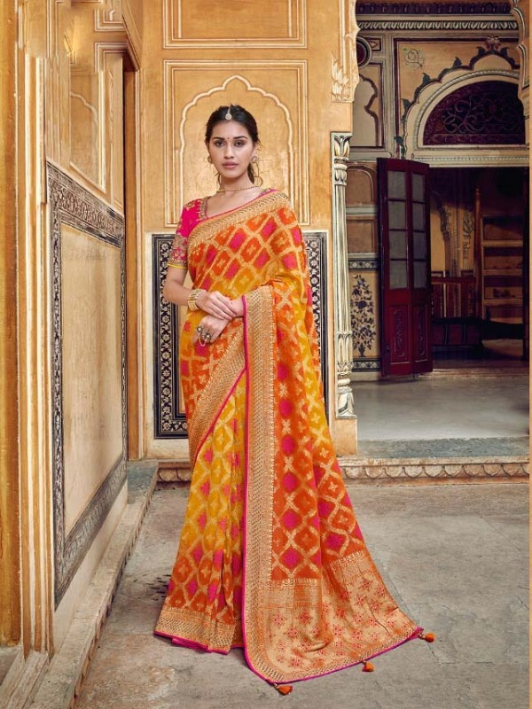 Mustrd Pure Dola Silk Saree with Embroidery