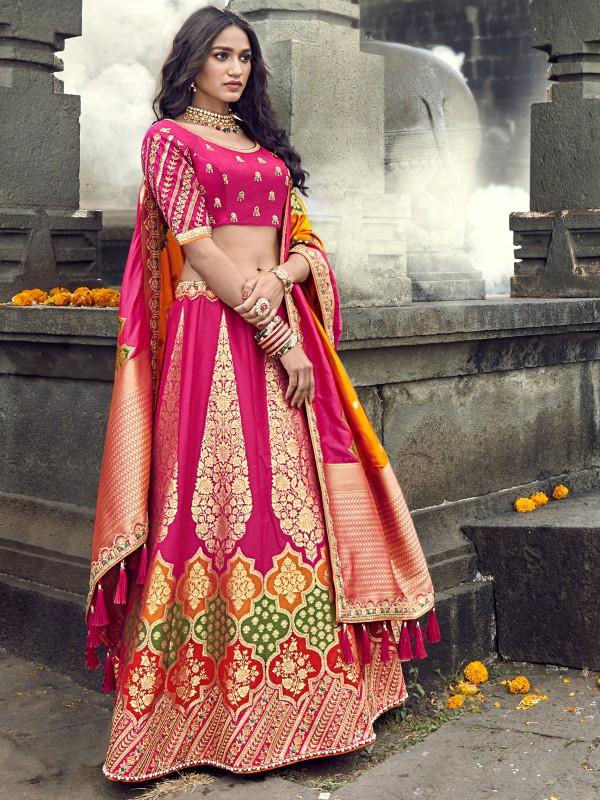 Pure Banarasi Silk Wedding Lehenga in  Pink With Embroidery  work