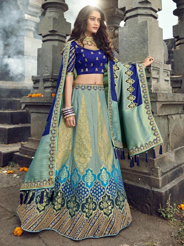 Pure Banarasi Silk Wedding Lehenga in Blue & Grey  With Embroidery  work