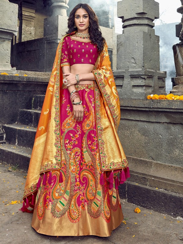 Pure Banarasi Silk Wedding Lehenga in Mustard & Pink  With Embroidery  work