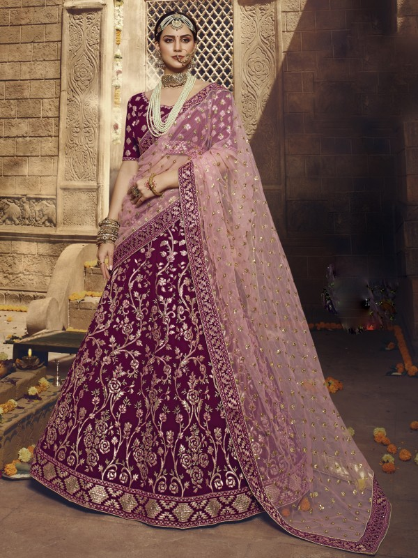 Georgette Fabrics  Wedding Lehenga in Wine Color With Embroidery Work & Gota -Patti  Work