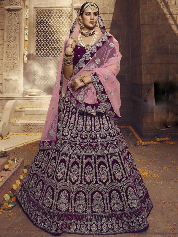 Pure Velvet Wedding Lehenga in Wine Color With Embroidery Work & Sequence  Work