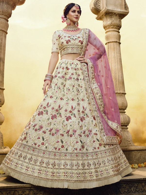 Georgette Fabrics  Wedding Lehenga in Off White Color With Embroidery Work & Gota -Patti  Work