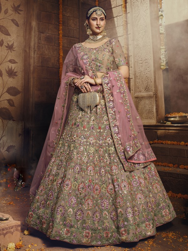Georgette Fabrics  Wedding Lehenga in Light Brown Color With Embroidery Work & Sequence Work