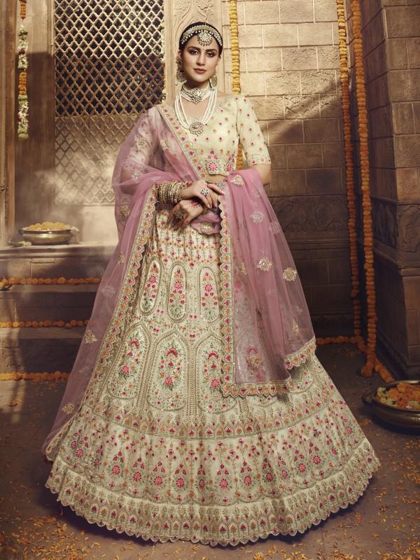 Organza Silk  Wedding Lehenga in Cream Color With Embroidery Work & Stone Work