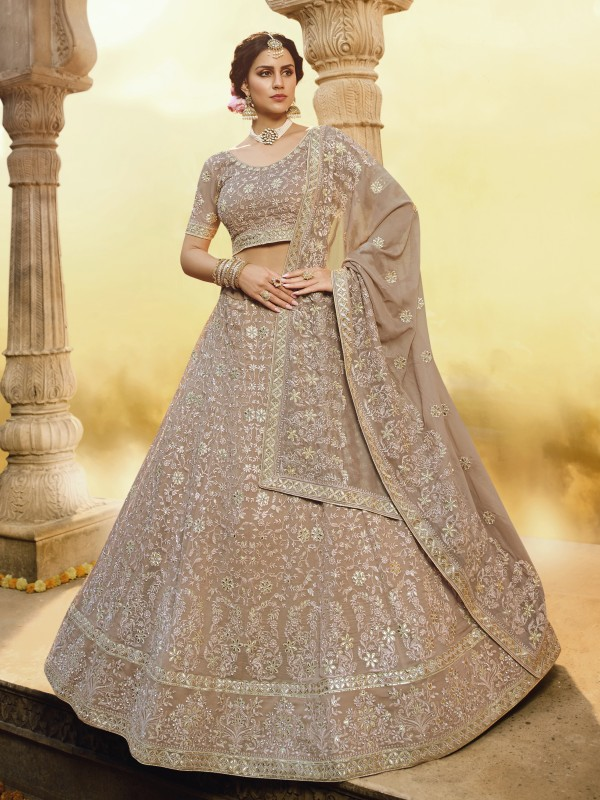Georgette Fabrics  Wedding Lehenga in Light Brown Color With Embroidery Work & Gota -Patti  Work