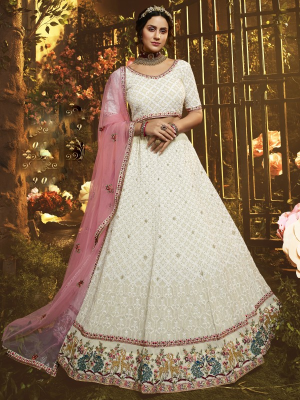 Georgette Fabrics Wedding Lehenga in Pink & Off White Color With Embroidery Work , Stone work , Zari