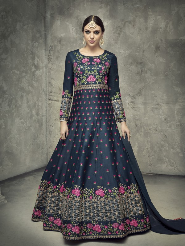 Mulberry Silk Party Wear Gown In Blue With Embroidery Work