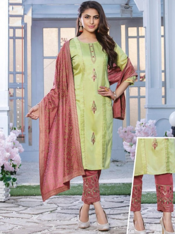 chanderi silk  Casual Wear Suit In Green & Pink  Color With Embroidery