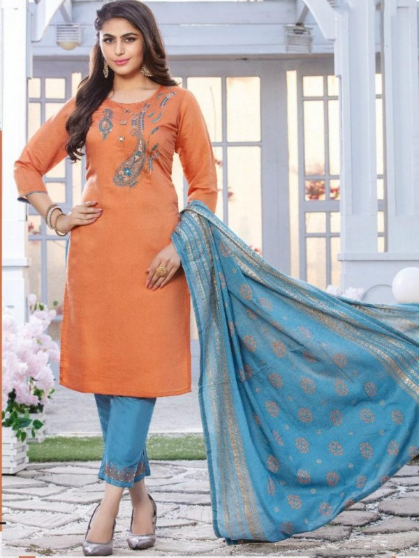 chanderi silk  Casual Wear Suit In Blue & Orange Color With Embroidery
