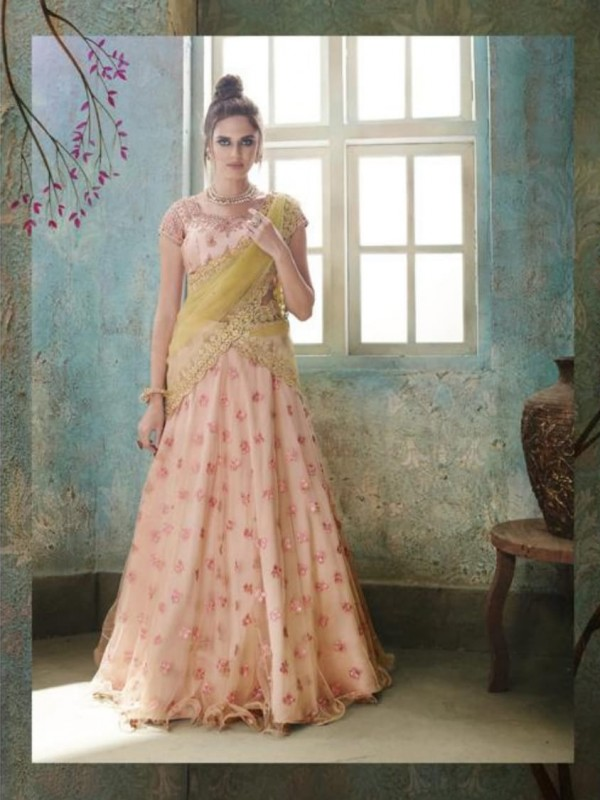 Soft Premium Net Party Wear Lehenga In Peach Color With Embroidery Work & Stone Work