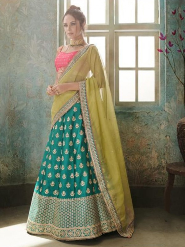 Pure Satin Silk Party Wear Lehenga In Green WIth Embroidery & Crystals Stone Work