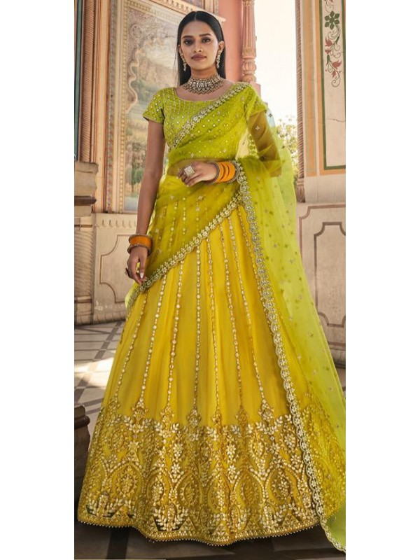 Soft Premium Net Party Wear Lehenga In Yellow & Green Color With Embroidery Work