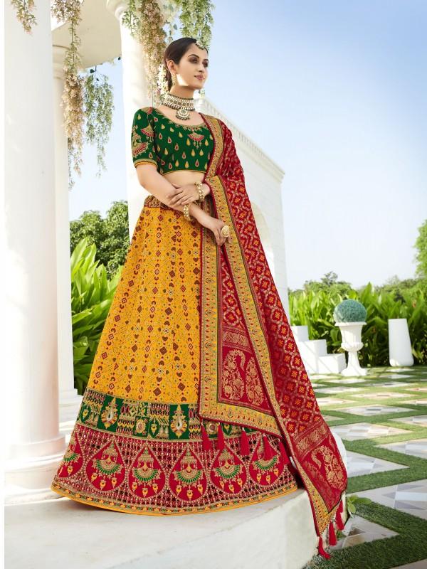 Pure Banarasi Silk Wedding Lehenga in Multi Color With Embroidery  work