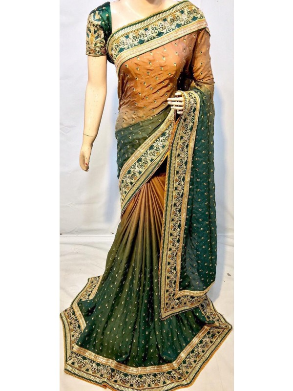 Pure Sateen Silk Bridal Wear Saree In Green WIth Embroidery Work & Crystal Stone work