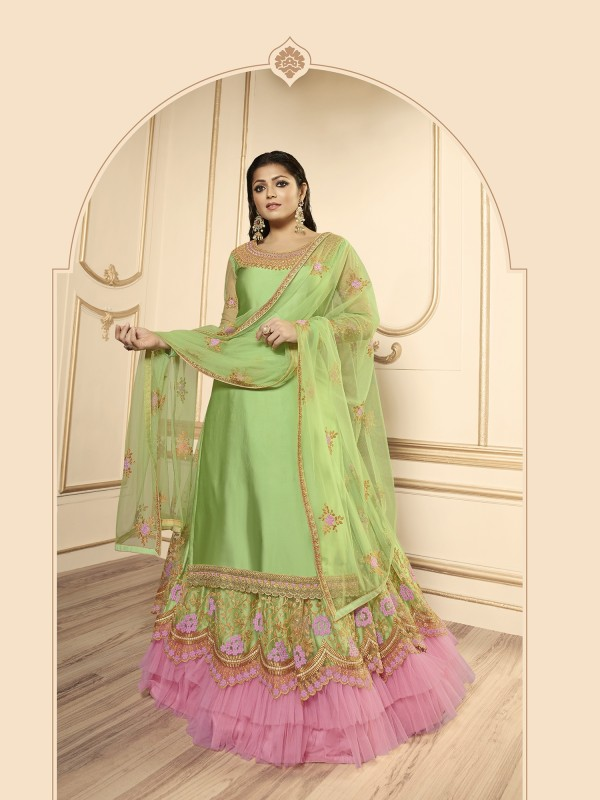 Satin Georgette With Soft Premium Net  Lehenga In Pink & Green Color With Embroidery