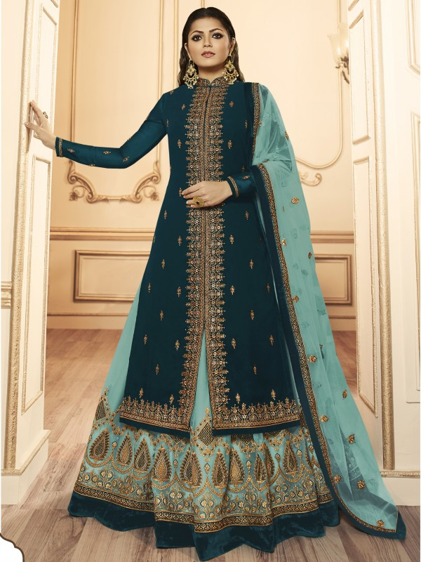 Georagette With Soft premium Net  Sharara In Dark Blue & Light Blue  With Embroidery