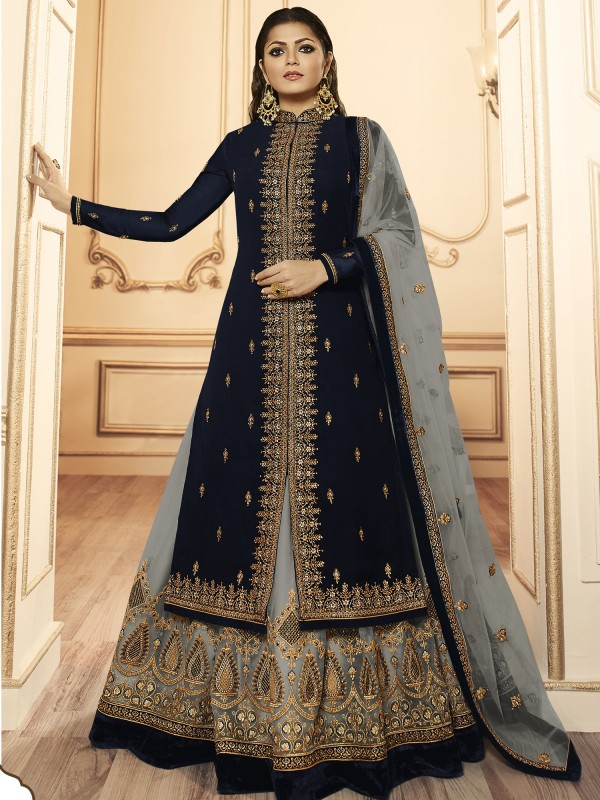 Georagette With Soft premium Net  Lehenga In Navy Blue & Grey  With Embroidery