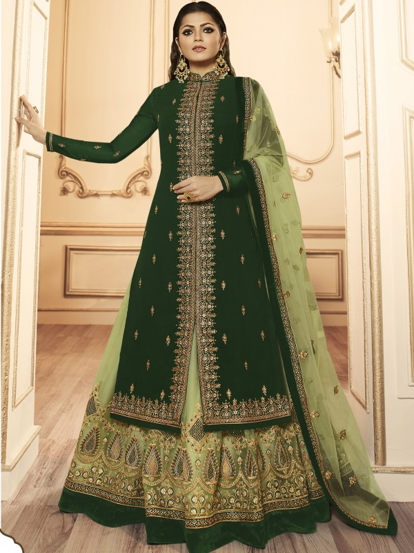 Georagette With Soft premium Net  Sharara In Green & Light Green  With Embroidery