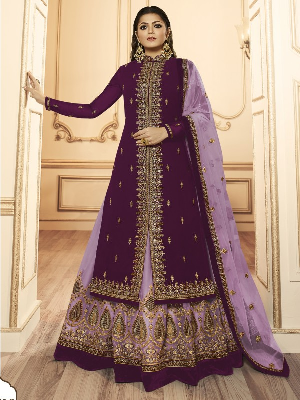 Georagette With Soft premium Net  Sharara In Purple  With Embroidery