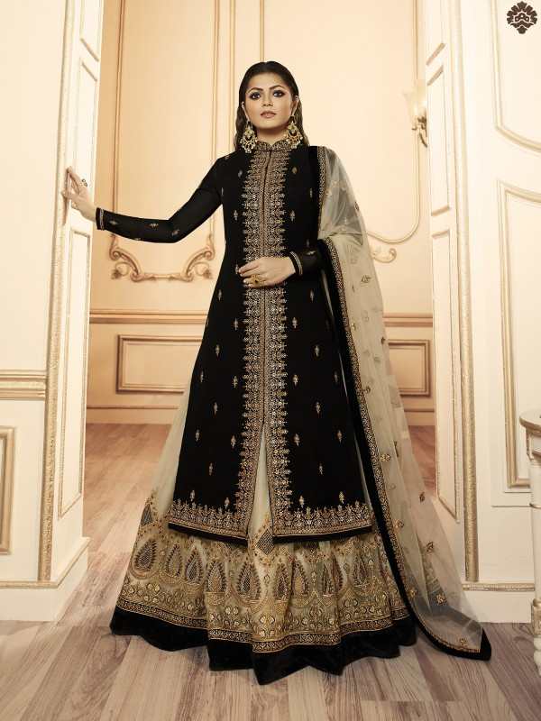Georgette With Soft Premium Net  Sharara In Black & Beige Color With Embroidery