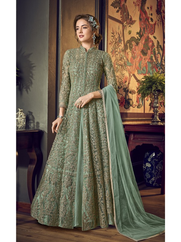 Soft Premium Net Wedding Wear Gown  In C. Green Embroidery Work &Sequence Work
