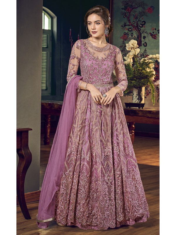 Soft Premium Net Party Wear Gown In Pink Embroidery Work & Sequence Work