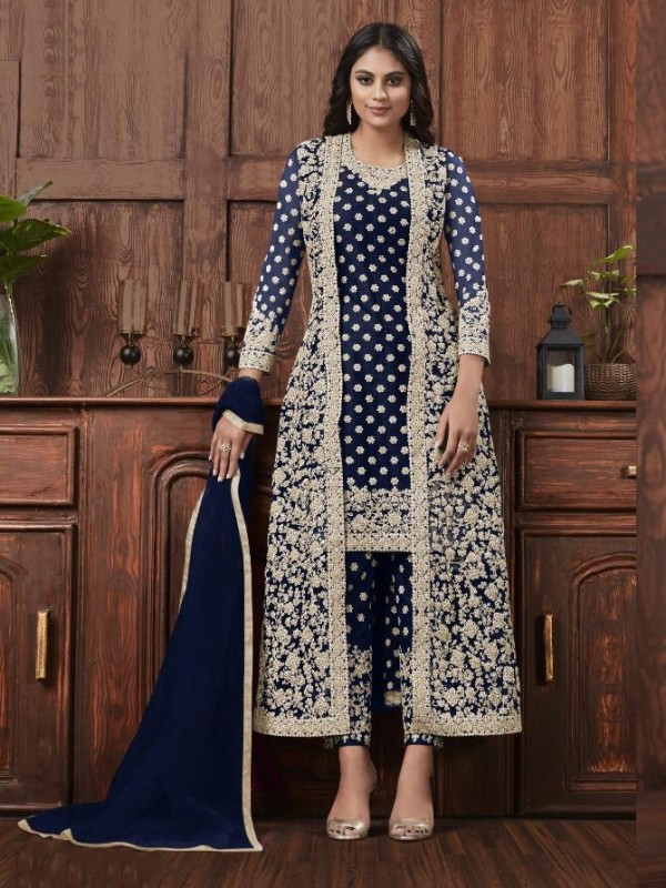 Butterfly Net Fabric Party Wear Suit In Blue Color With Embroidery