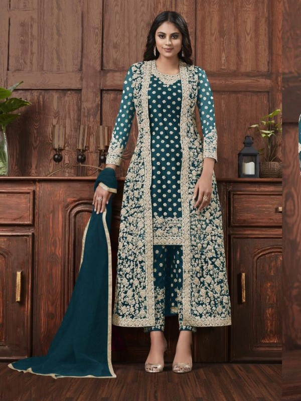 Butterfly Net Fabric Party Wear Suit In Dark Turquoise Color With Embroidery