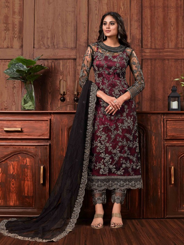 Butterfly Net Fabric Party Wear Suit In Black & Maroon Color With Embroidery