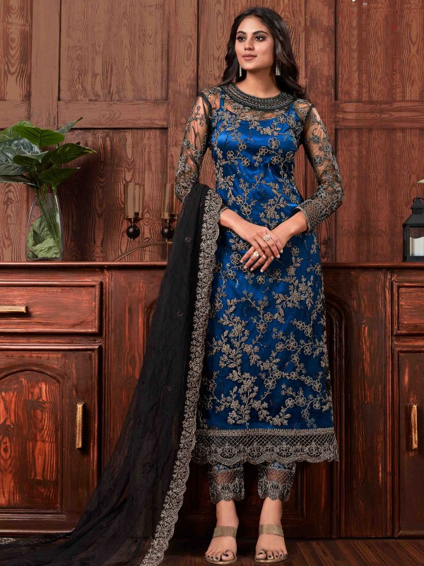 Butterfly Net Fabric Party Wear Suit In Black & Blue  Color With Embroidery