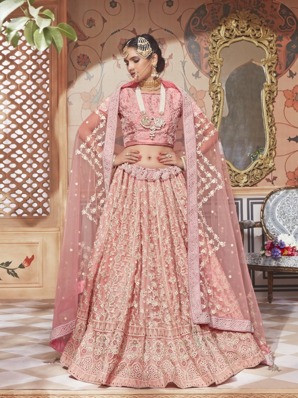 Soft Premium Net Wedding Lehenga In Pink With Embroidery & Crystal Stone Work