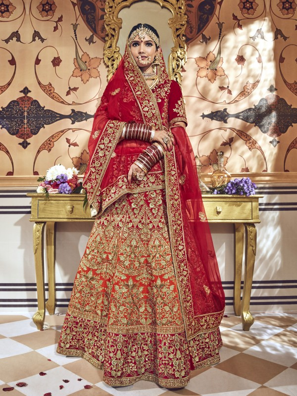 Pure Micro Velvet Bridal Lehenga In Red & Orange With Zardosi & Crystal Stone Work