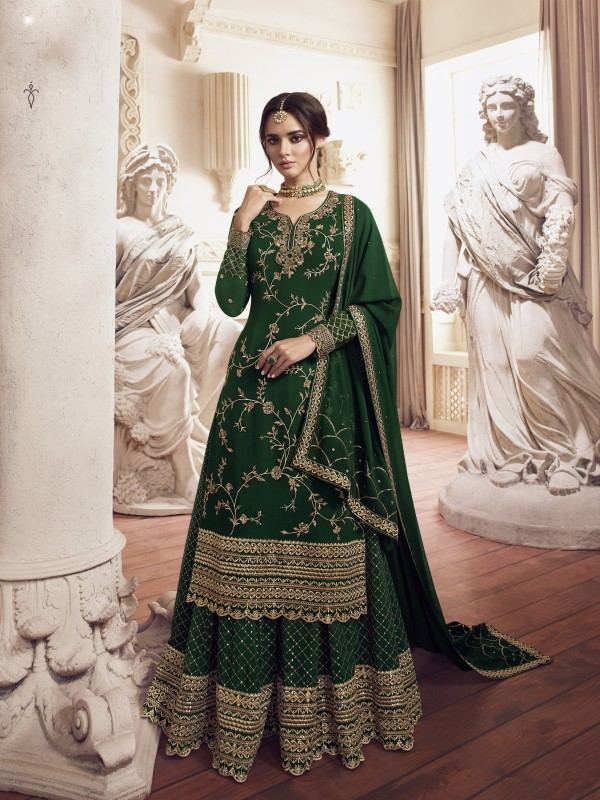 Georgette  Sharara In Green  With Embroidery