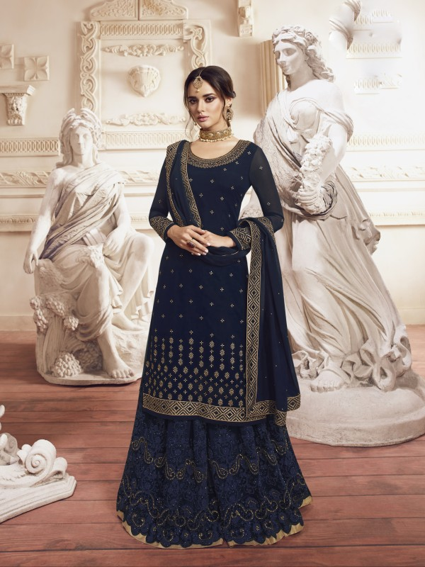 Georgette Silk  Sharara In Navy Blue  With Embroidery