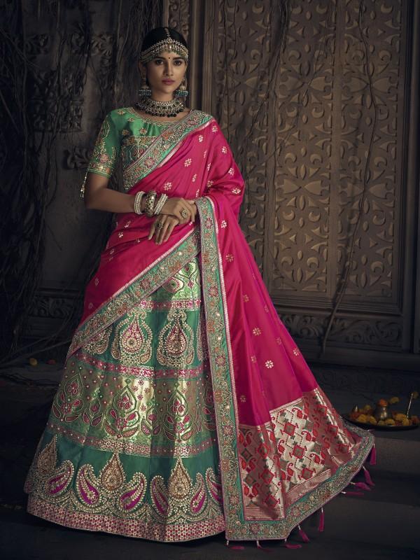 Banarasi Silk Wedding Lehenga in Green with Moti work