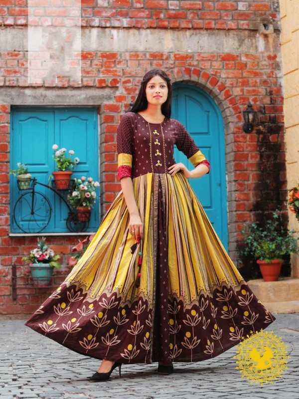 Heavy Rayon & Cotton Fabrics Long Kurti In Dark Brown Color With Embroidery Work
