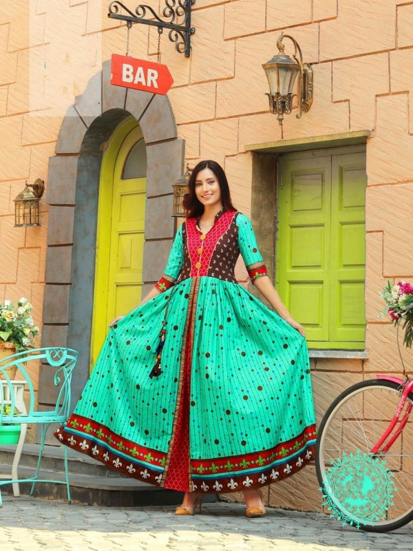 Heavy Rayon & Cotton Fabrics Long Kurti In Turquoise Color With Embroidery Work