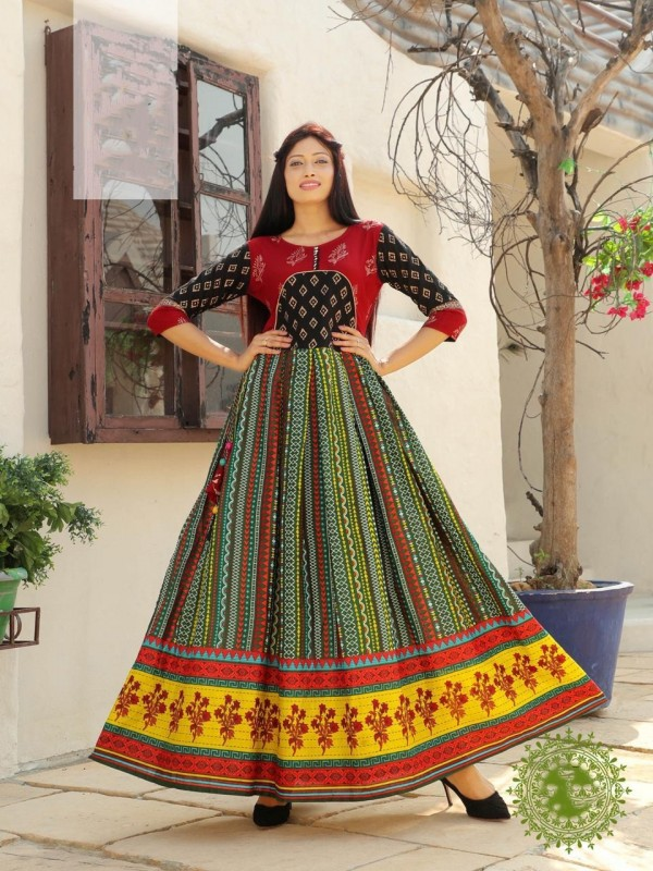Heavy Rayon & Cotton Fabrics Long Kurti In Multi Color With Embroidery Work