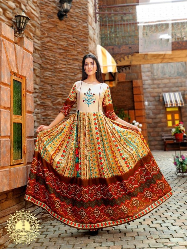 Heavy Rayon & Cotton Fabrics Long Kurti In Peach Color With Embroidery Work