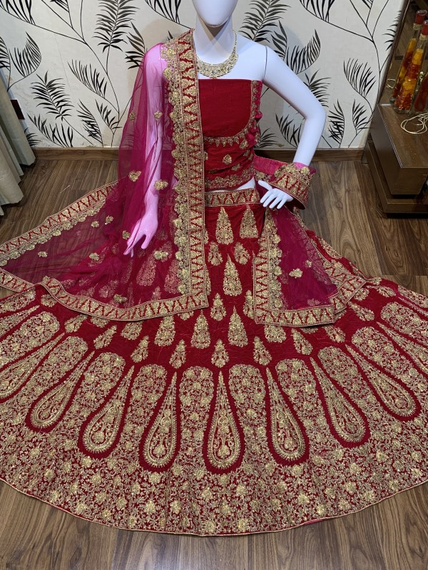 Pure Micro Velvet Bridal Lehenga In Pink  With Zardosi & Crystal Stone Work
