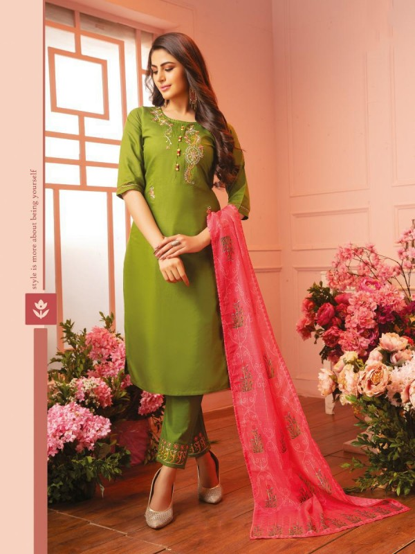 cotton Casual Wear Suit In Green Color With Embroidery