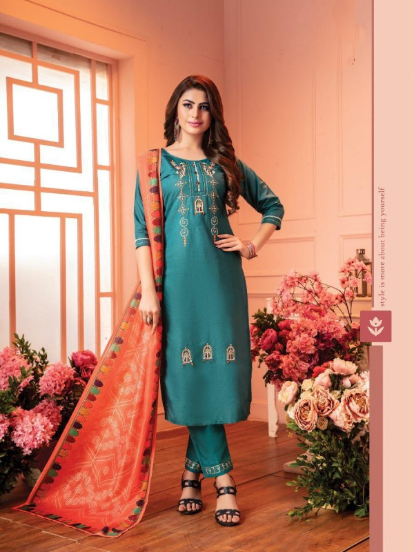 cotton Casual Wear Suit In Blue Color With Embroidery