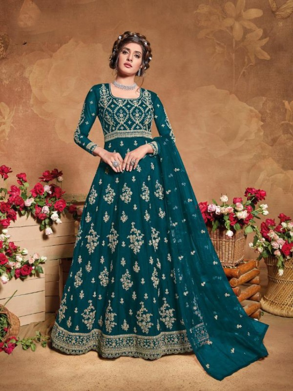 Soft Premium Net Wedding Wear Gown  In Teal Blue Embroidery Work