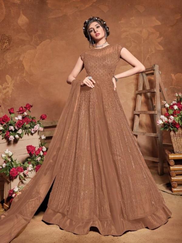 Soft Premium Net Wedding Wear Gown  In Light Brown  Embroidery Work &Sequence Work
