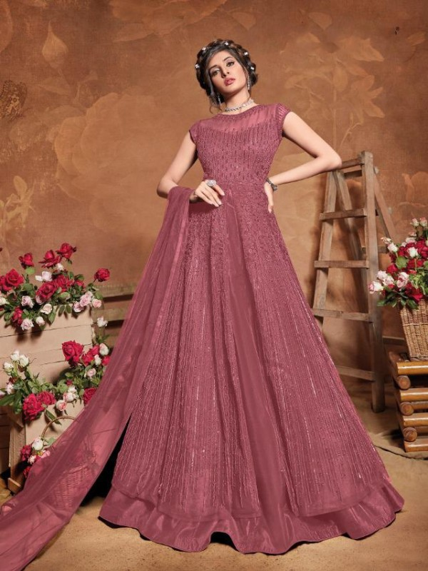 Soft Premium Net Wedding Wear Gown  In Dusty Pink Embroidery Work &Sequence Work
