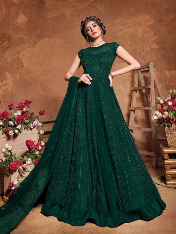 Soft Premium Net Wedding Wear Gown  In Teal Green Embroidery Work &Sequence Work
