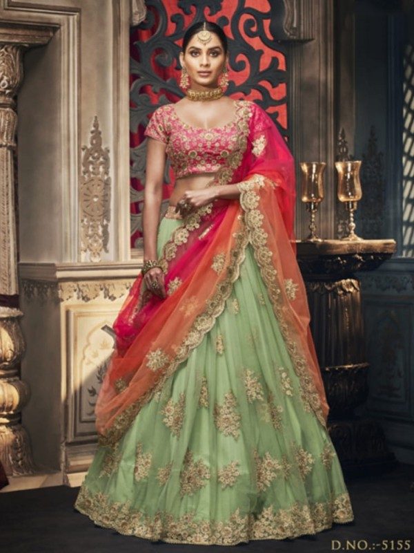 Soft Premium Net Wedding Lehenga in Pastel Green With Embroidery & Crystals Stone Work